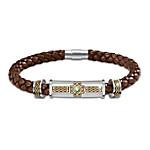 Irish Legend Braided Leather Etched Bracelet