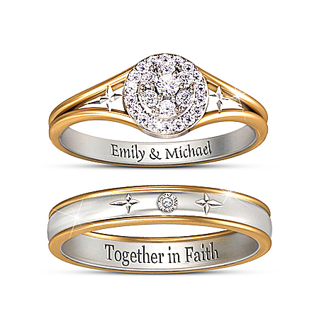 Forever In Faith Diamond Bridal Ring Set Personalized With Engraving