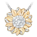 My Granddaughter, My Sunshine Sunflower Pendant Necklace