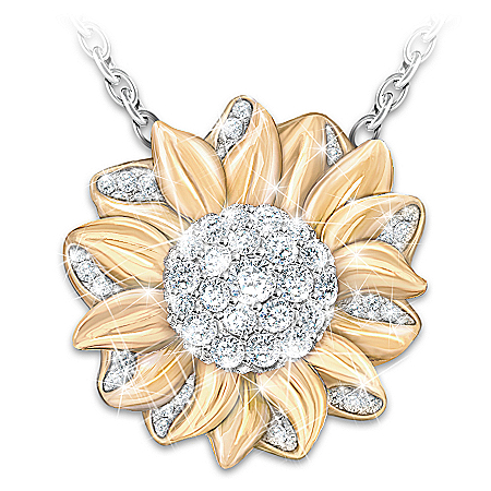 My Granddaughter, My Sunshine Sunflower Pendant Necklace