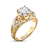 I Adore You 18K Gold-Plated White Topaz Engraved Ring