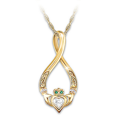 Infinity Claddagh And Peridot Gemstone Pendant Necklace