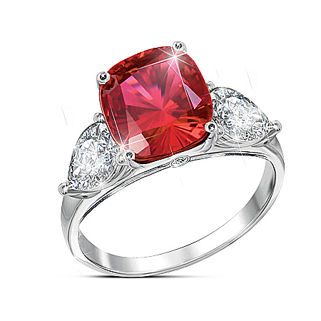 Rare Sunrise Sterling Silver Created Ruby Ring