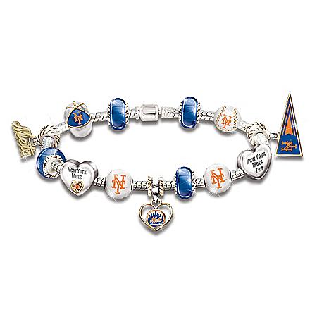 Go Mets! #1 Fan Charm 18K Gold-Plated Bracelet