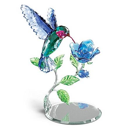 Nature's Delicate Dance Crystal Hummingbird Sculpture