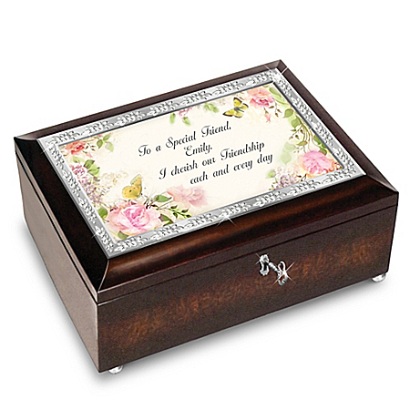 Personalized Floral & Butterfly Music Box for a Special Friend With Poem Card