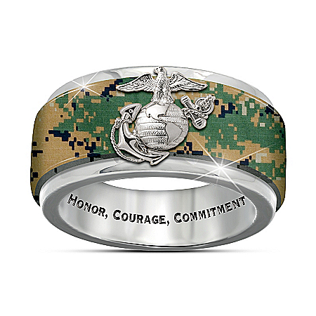 USMC Pride Engraved Men's Camo Spinning Ring