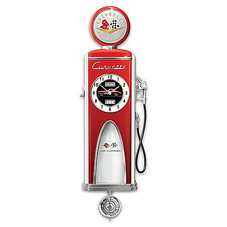 Corvette High Octane Gas Pump Lighted Wall Clock