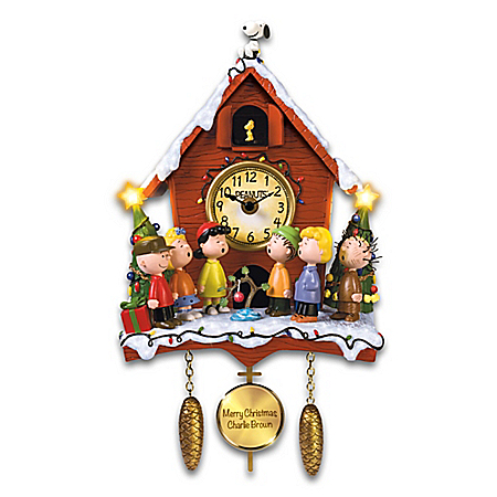 PEANUTS A Charlie Brown Christmas Illuminated Sculptural Cuckoo Clock