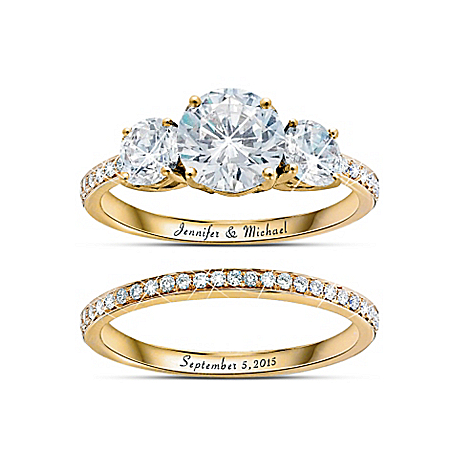Today, Tomorrow, Always Personalized Diamonesk 18K Gold-Plated Bridal Ring Set – Personalized Jewelry