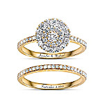 Golden Personalized Diamond Women's Bridal Ring Set