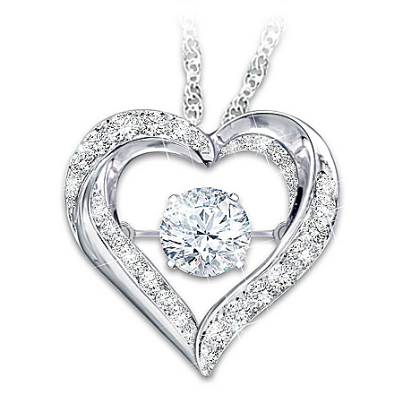 Always In My Heart Granddaughter Heart-Shaped Topaz Pendant Necklace