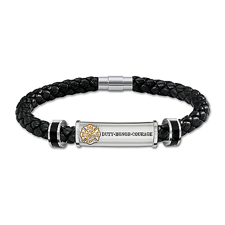 Firefighter's Brotherhood Of Honor Personalized Leather Bracelet