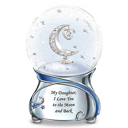Daughter Musical Glitter Globe With Swarovski Crystal Plays Always In My Heart