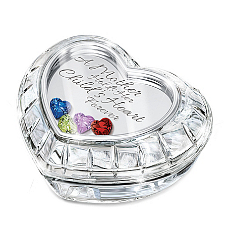 A Mother Holds Her Child's Heart Forever Personalized Music Box With Swarovski Crystal Birthstones - Personalized Jewelry