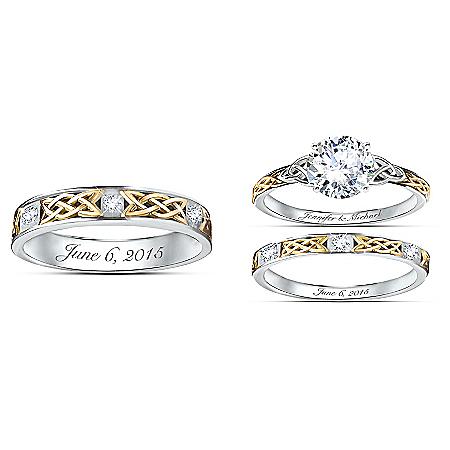 Irish Trinity Knot His & Hers Personalized Wedding Ring Set – Personalized Jewelry