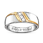Enduring Love Personalized Men's Sterling Silver Diamond Ring