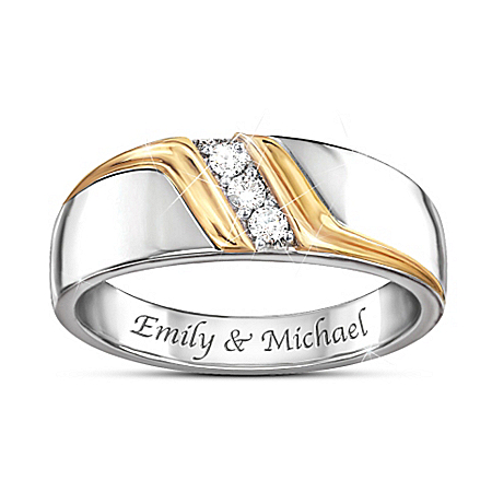 Enduring Love Personalized Men's Sterling Silver Diamond Ring – Personalized Jewelry