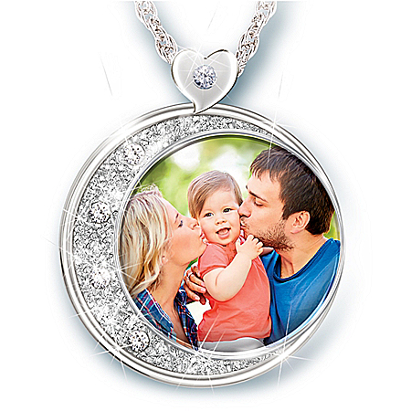 I Love You To The Moon & Back Women's Personalized Photo Pendant Necklace Featuring A Crescent Moon Design Shimmering With A Pav