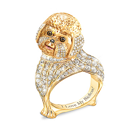 Best In Show Engraved 18K Gold-Plated Bichon Ring