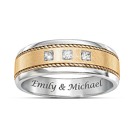 Timeless Love Personalized Men's Two Tone Diamond Ring – Personalized Jewelry
