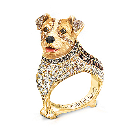 Best In Show Engraved 18K Gold-Plated Jack Russell Terrier Ring