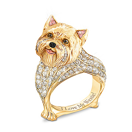 Best In Show Engraved 18K Gold-Plated Westie Ring