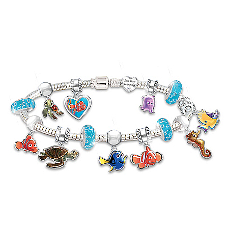 Disney•Pixar FINDING NEMO Just Keep Swimming Handcrafted Character Charm Bracelet