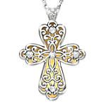 Glowing Light Of Faith Diamond 24K Gold-Plated Cross Pendant Necklace