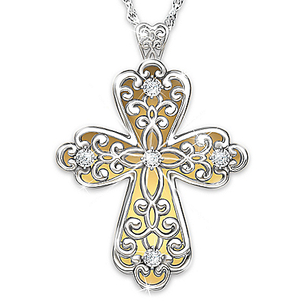 Glowing Light Of Faith Diamond 24K Gold-Plated Cross Pendant Necklace