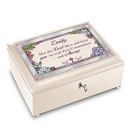 Blessed First Communion Personalized White Music Box