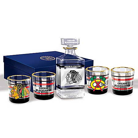 Chicago Blackhawks Decanter and Glasses Barware Gift Set: Bradford Exchange