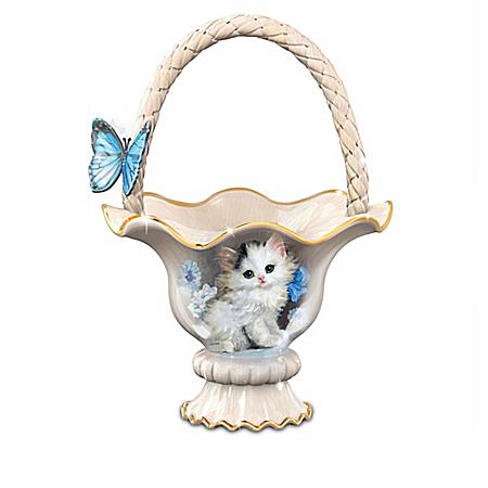 Meta Pluckebaum Blue-Eyed Beauty Cat Table Basket Centerpiece