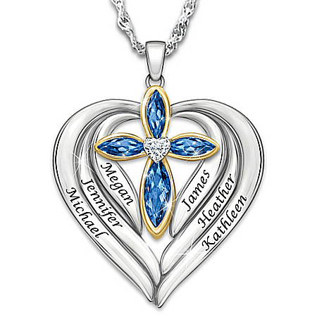 Bless And Protect Our Family Personalized Pendant Necklace