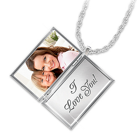 Love Note For My Daughter Sterling Silver Plated Personalized Photo Upload Locket Pendant Necklace Featuring An Unique Envelope