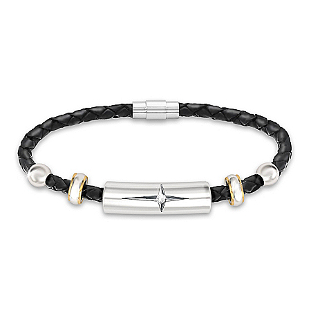 Religious Granddaughter Diamond And Leather Bracelet: Bradford Exchange