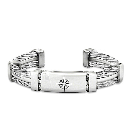 Anything Is Possible Stainless Steel Men's Cuff Bracelet
