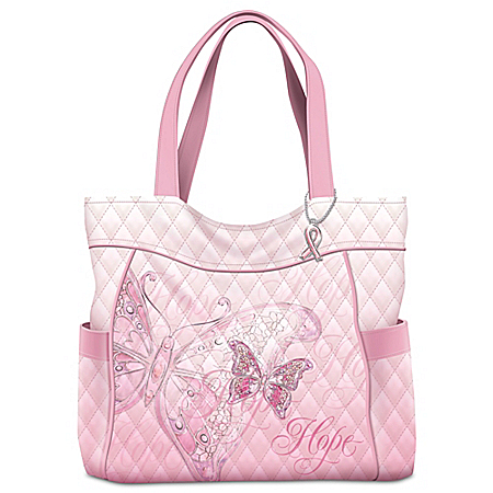 Wings Of Hope Breast Cancer Awareness Butterfly Tote Bag