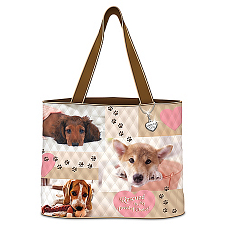 At Home In My Heart Rescued Dog Quilted Tote Bag