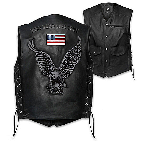 Open Road Men's Leather Motorcycle Vest 123446001