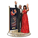 Barack And Michelle Obama Commemorative Tribute Hand-Painted Sculpture