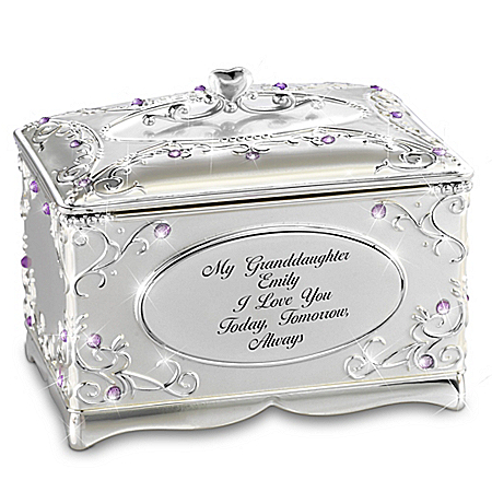 My Granddaughter, I Love You Personalized Silver-Plated Music Box