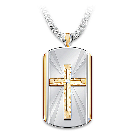 The Lord's Prayer Stainless Steel White Sapphire Son Pendant Necklace