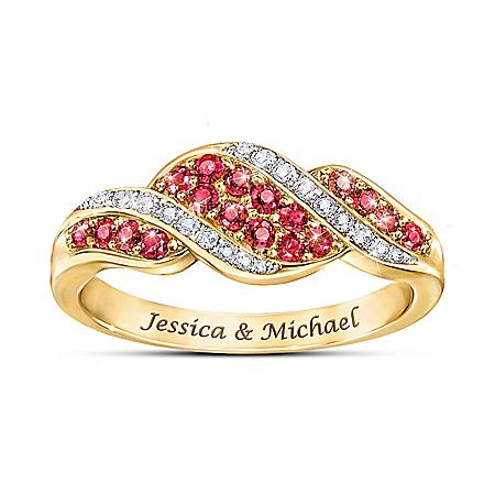 Lavish 18K Gold Plated Romance Ruby & Diamond Personalized Ring – Personalized Jewelry