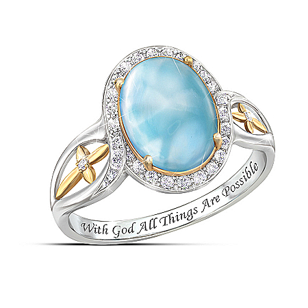 Heavenly Reflections Larimar Cabochon And White Topaz Ring