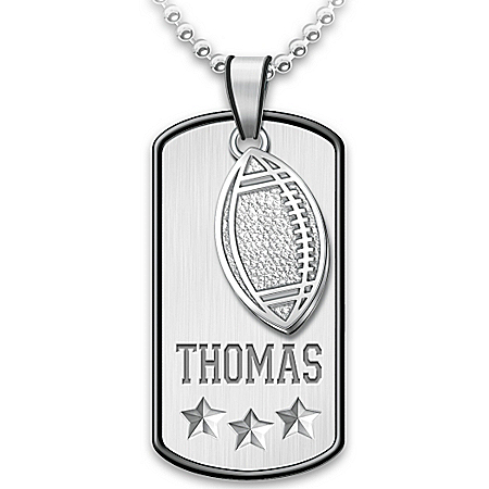 Sports Star Personalized Stainless Steel Grandson Pendant Necklace