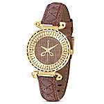 Sew Happy Brown Leather Women's Watch