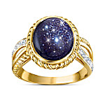Stars In The Night 18K Gold-Plated Blue Goldstone Ring
