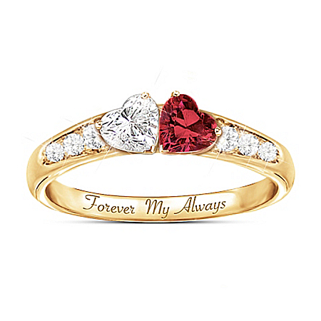 Forever My Always 14K Gold-Plated Women's Ring With Heart-Shaped Gemstones