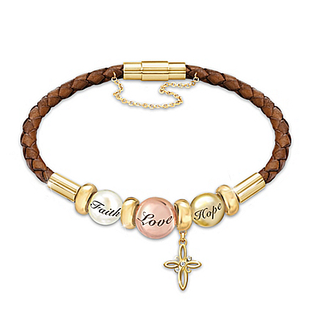 Daughter I Wish You Leather Cross Bracelet